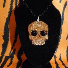 Pumpkin Skull Glitter Necklace.