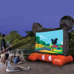 Disney Inflatable Outdoor Movie Screen...OMG SO COOL! Ethen would love it!