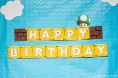 Super Mario Party Recap with Free Printables Free Printable Super Mario Birthday Banner by MKKM Designs Mario Birthday Banner, Happy Birthday Banner Printable, Super Mario Birthday, Super Mario Party, Happy Birthday Banners, Bolo Super Mario, Mario Kart, Puppy Birthday Parties, 7th Birthday