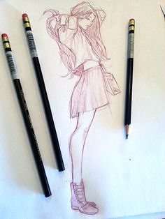 Sketch Side View of Girl in Skirt