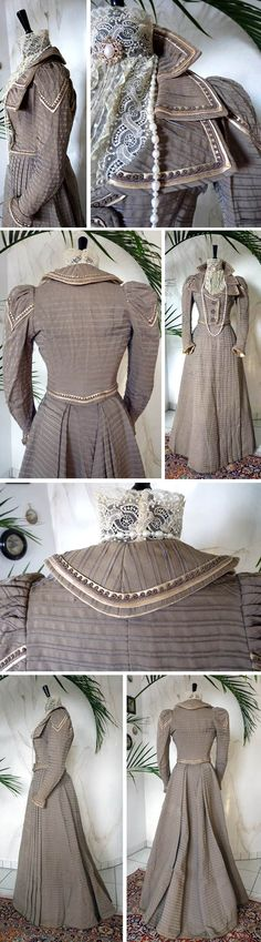 Two-piece walking dress ca. 1899. Bodice has very elaborate collar including stitched applications, also on whole bodice. Three ornamental steel pearl buttons on bodice front. Small band applications over entire dress. Four decorative pleats on front of skirt, which ends in little train. Antique Gown
