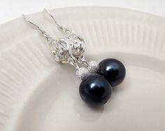 Pendientes de perlas negras perla joyería por CameronsJewelryBox