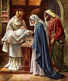 """February 2nd Feast of the Purification of the Blessed Virgin Mary.  According to the Mosaic law a mother who had given birth to a man-child was considered unclean for seven days; moreover she was to remain three and thirty days """"in the blood of her purification""""; for a maid-child the time which excluded the mother from sanctuary was even doubled. When the time (forty or eighty days) was over the mother was to """"bring to the temple a lamb for a holocaust and a young pigeon or turtle dove for…"""