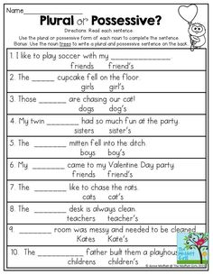 Teach Your Child to Read - Plural or Possessive? Use the plural or possessive form of each noun to complete the sentence. Great grammar exercise for grade! - Give Your Child a Head Start, and.Pave the Way for a Bright, Successful Future. Grammar Activities, Teaching Grammar, Grammar Lessons, Teaching English, Math Games, 2nd Grade Grammar, 4th Grade Ela, 2nd Grade Writing, Grade 3