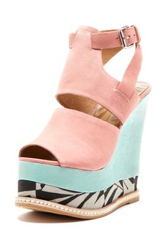 Matiko Cher Color Block Wedge with Print ~cute, but I could never walk in them :)