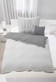 Bettwäsche Aus 100% Baumwolle In Der Farbe Grau Mit Schriftzug. B/L: