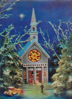 3D 3 D LENTICULAR POSTCARD, CHURCH IN WINTER