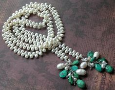 faceted turquoise + freshwater pearls lariat