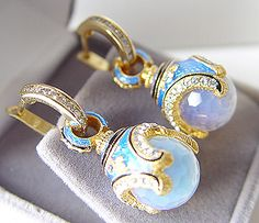So pretty, enameled silver with moonstones