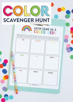 Printable Kids Color Scavenger Hunt ( Rainbow Kebab Snack Idea) - fun crafts for kids Easy - Yorgo Rainbow Games, Rainbow Snacks, Rainbow Activities, Rainbow Crafts, Rainbow Theme, Preschool Activities, Kids Printable Activities, Rainbow Birthday, Indoor Activities