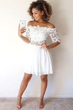 white homecoming dresses,lace homecoming dresses,off the shoulder homecoming dresses,homecoming dresses short White Homecoming Dresses, Hoco Dresses, Half Sleeve Dresses, Trendy Dresses, Simple Dresses, Cute Dresses, Beautiful Dresses, Summer Dresses, Formal Dresses