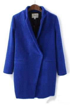 Clothing :: Coats and Jackets :: Trendy Long Sleeve Wool Winter Coat - #roseandpose