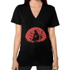 Red Moon Spy V-Neck (on woman) Shirt