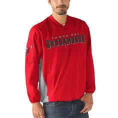 Tampa Bay Buccaneers G-III Sports by Carl Banks Gridiron V-Neck Pullover Sweatshirt - Red - $54.99