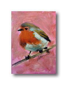 Robin Bird Art ACEO Mini Painting Original Tiny Doll House