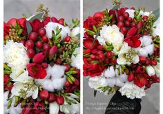 Baiciurina Olga's Design Room: Красно-белый зимний букет невесты-Red&White winter wedding bouquet