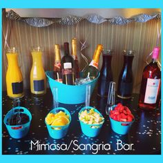 Mimosa/Sangria Bar - I created this for a bachelorette party, set up in the hotel room :)   >Carafes - IKEA   >Plastic Teal Containers - Dollar Tree