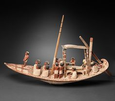 Model Sailing Boat Transporting a Mummy | Middle Kingdom Dynasty 12 Reign:Amenemhat II, late Date:ca. 1900–1885 B.C. | The Met