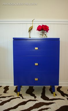 Klein Blue Record Cabinet {by: Phoenix Restoration}