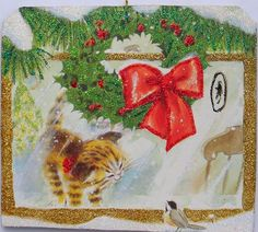 Kitten Watches Chickadee Window Glittered Christmas Ornament Vtg Greeting Card #Handmade