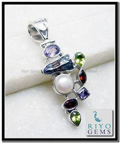 Mother of Pearl Silver Pendant www.riyogems.com Riyo Gems