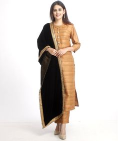Simplicity at its best...Gold with streaks of Black Kurti with Kundan antique buttons...paired with matching pants...topped off with a Lovely Banarsi Dupatta to give you an exquisite and classy look...