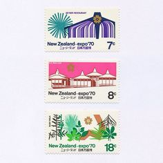 Expo 70, Japan (7c / 8c / 18c). New Zealand, 1970. Design: Mark Cleverley. #mnh #graphilately