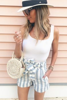 d364c9e39b5aa Pinteresting Plans Fashion Blog · warm weather vacation outfit ideas - high  waisted striped shorts on rachel moore of pinteresting plans