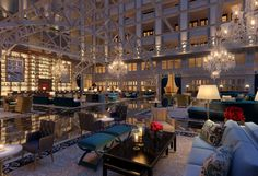 The Grand Lobby New Trump Hotel from the Old Post Office in Washington D.C.