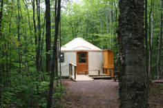 Yurt in the woods at Porcupine Mountains Yurt Camping, Camping Places, Camping Spots, Luxury Camping, Camping World, Outdoor Camping, Stay In A Treehouse, Colorado Springs Camping, Camping In Tennessee