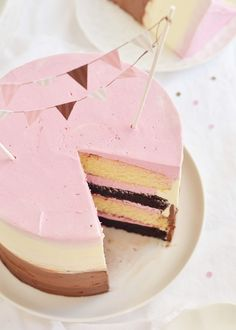 Raspberry Neapolitan Party Cake | Sweetapolita