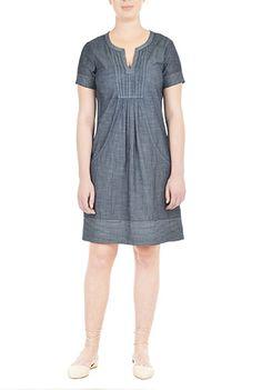 I <3 this Trapunto trim indigo chambray shift dress from eShakti