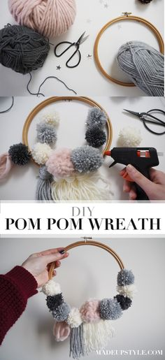 Diy room cute pom poms 46 Ideas for 2019 Craft Stick Crafts, Craft Gifts, Diy And Crafts, Crafts With Wool, Pom Pom Wreath, Diy Wreath, Pom Pom Diy, Pom Pom Kranz, How To Make A Pom Pom