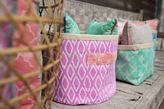 Batik fabric storage baskets for clearing away clutter in style. Batik fabric outside, canvas inside. Fabric Storage Baskets, Plush Animals, Bunting, Shades Of Blue, Clutter, Pink Grey, Mint Green, Little Ones, Diaper Bag