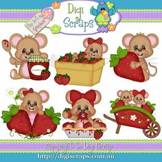 Berry Sweet Mouse Clip Art Set  Clipart by Digiscrapsau on Etsy, $2.00