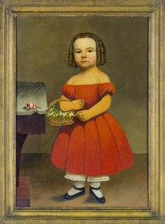 Oil on canvas portrait of a young girl, ca. 1840 : Lot 925