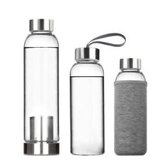 WSWS - Portable Real Borosilicate Glass Water Tea Bottle Travel Mug with Nylon Sleeve with/without Tea Infuser (550ML with Tea Infuser