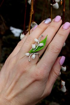 Lily of the valley 925 Sterling Ring Floral Jewelry Silver