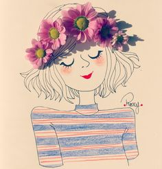 Illustration Mignonne, Art Et Illustration, Art Floral, Colorful Drawings, Cute Drawings, Image Girly, Pop Art, Friends Sketch, Old Paper Background