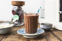 coffee smoothie - Jamie Oliver.  Frozen banana, chia seeds, coconut water,ground almonds and shot of espresso.