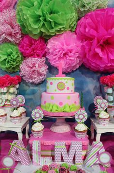 Fantastic cake at a pink and green baptism party! See more party ideas at CatchMyParty.com!