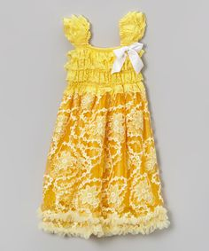Look at this #zulilyfind! Yellow Floral Ruffle Babydoll Dress - Toddler & Girls by Tutus by Tutu AND Lulu #zulilyfinds