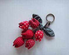 Fleur Keychain, Tulip trousseau, porte clé, porte clef fleur, fleur rouge
