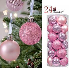 Christmas Tree Ball Pastel Ornaments 24ct Pink Decor Shatterproof Decorations #KIStore