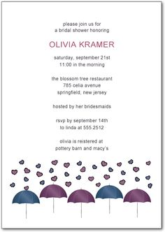 Umbrellas And Heart Rain Bride To Be Invites Invitation Cards, Invites, Tree Restaurant, Blossom Trees, Text Color, Bridal Shower Invitations, Umbrellas, Shower Ideas, Colorful Backgrounds