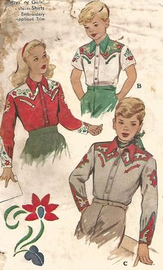 VINTAGE CHILD'S WESTERN SHIRT WITH TRANSFERS SEWING PATTERN