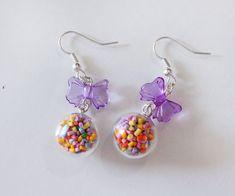 7b9683ebe4af Candy Jar Earrings - candy sprinkle Dangle Earrings - Glass Bottle Earrings  - food Earrings - Miniature Food Jewelry - Bubble glass Earrings