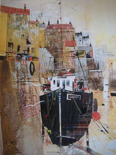 Mevagissey Mooring (Boat Mooring Mevagissey Cornwall) - Painting by Surrey Artist Nagib Karsan (Cranleigh Art Group, Dorking Art Group & Guildford Art Group) - Painting Commissions Invited