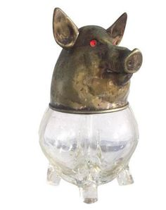 Vintage Glass and Brass Pig Head Jar