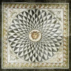 Imperial Roman floor mosaic, 2nd c. AD. Scaled clipeus with Medusa head at center.